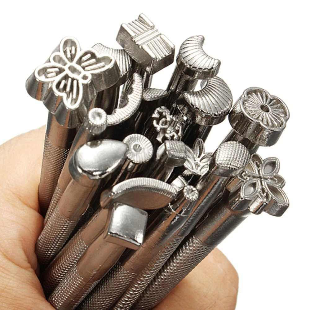 25PCS//Set Manual Leather Craft Carving Stamp Hammer Embossing Beveler