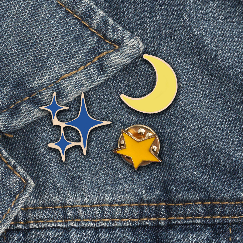 Apparel Sewing & Fabric 1pc Cute Telescope Universe Metal Badge Brooch Button Pins Denim Jacket Pin Jewelry Decoration Badge For Clothes Lapel Pins Selected Material