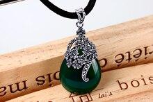 925 Yintai silver inlay Green Agate Necklace Pendant Drop Fashion Female chalcedony Japan Korea Retro