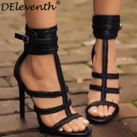 DEleventh Retro Gladiator Rome Sandal Women Black  ...