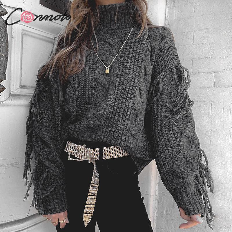 Conmoto Solid Deep Gray Casual Women Sweaters 19 Winter Turtleneck Knitwear Sweater Oversized Tassel Knitted Pullovers Jumpers 9