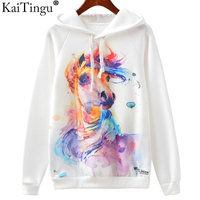 KaiTingu 2016 New Fashion Autumn Winter Sweatshirt Harajuku Owl Print Women Hoodies Sport Hooded White Tracksuit