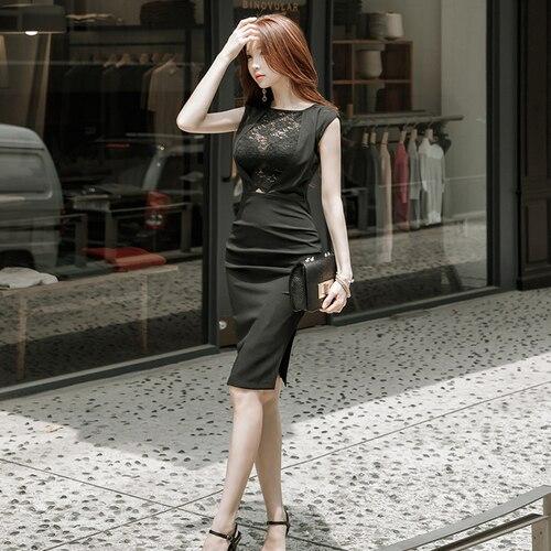 Genou Sexy Robe Noir 2018 Été Perspective Nouvelle longueur Haute Crayon Taille Slim Patchwork Robes Femmes 0tvqtx7w