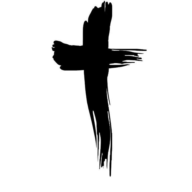 6.5cm*12cm Cross Fashion Black/Silver Vinyl Decal Car Window Sticker Religious Jesus S6-3402