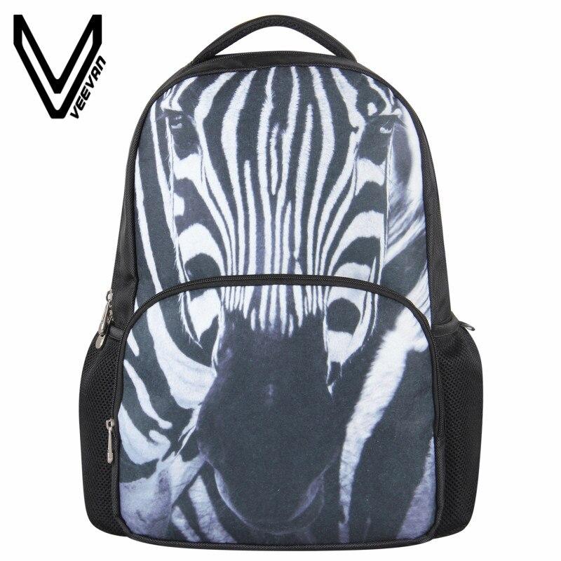 5c8061016a572 VEEVANV Yeni Zebra Baskı Çanta 3D Keçe Hayvan Sırt Çantası erkek Sırt  Çantası Kadın Rahat Seyahat Çantası Moda Omuz Okul Sırt Çantası
