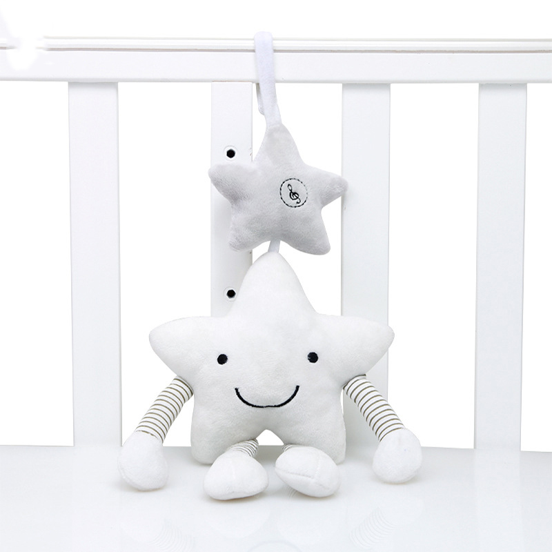 Infants Cradle Bed Bell Cute White Stars Baby Music Hanging Bed Safety Seat Plush Toy Hand Bell Multifunctional Plush Toys
