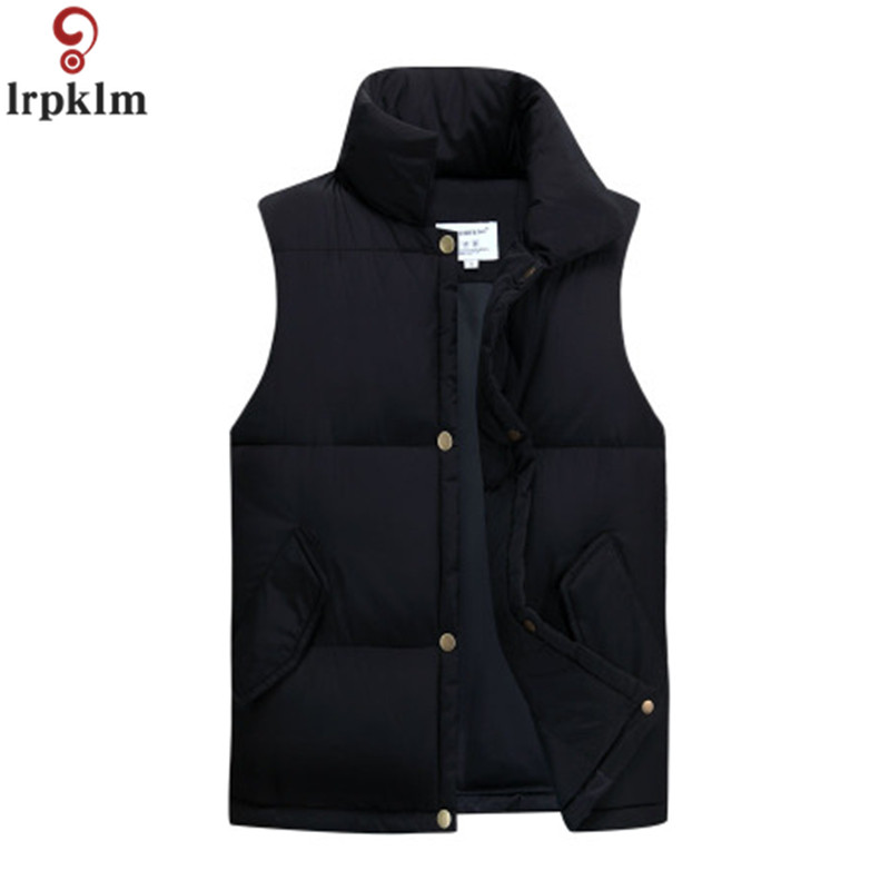 Male Cotton Vest Sleeveless Men Short Jacket Winter Coat Lovers' Clothes Solid Black Red White Waistcoat 2018 CH510