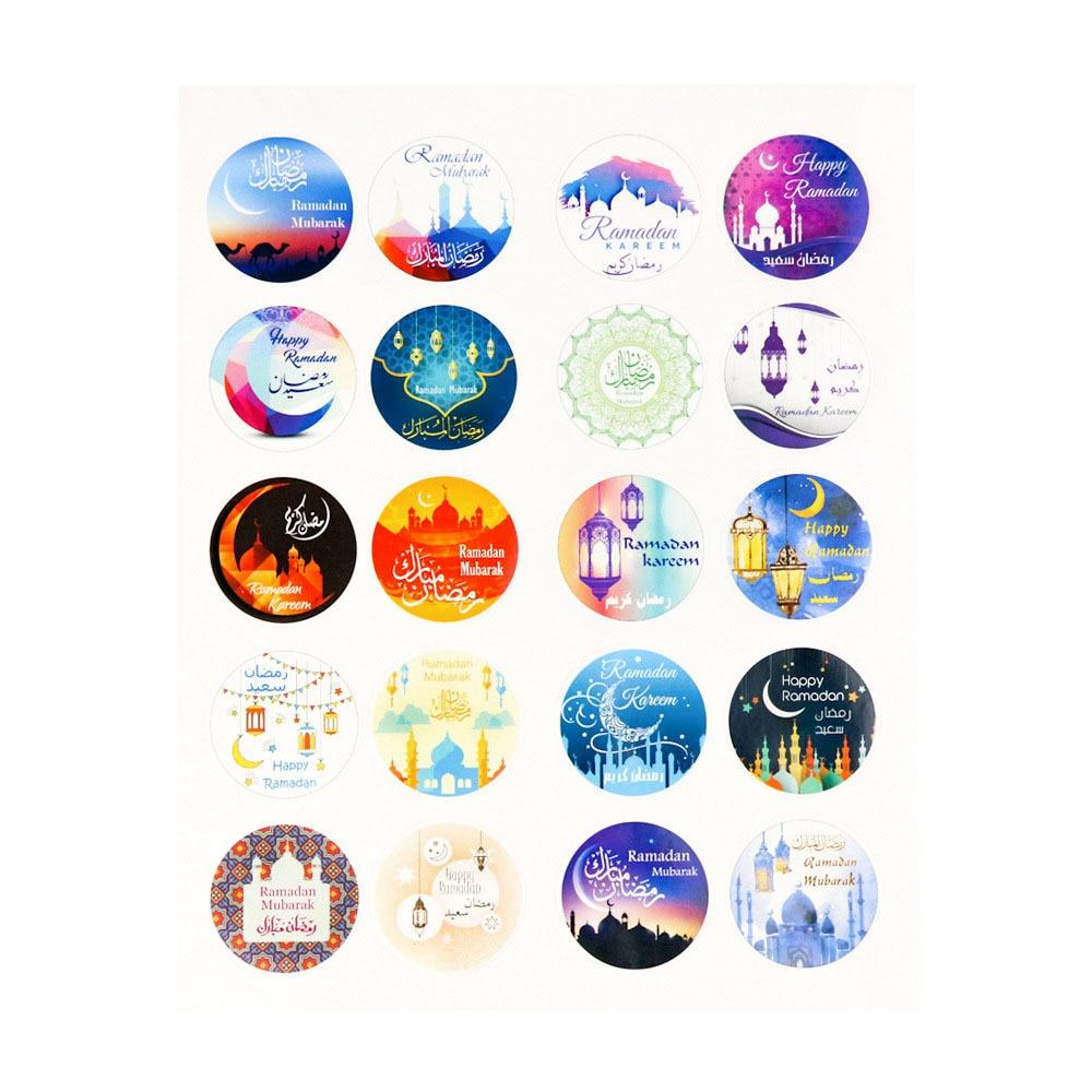 60pcs Eid Mubarak Stickers In Box Lable Paper Seal Gift Stickers Ramadan Mubarak Eid Decorations Islamic Gifts Muslim