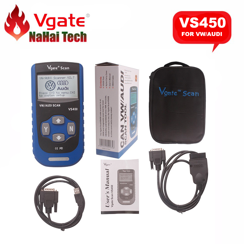 Цена за Оригинал VGATE СКАНИРОВАНИЯ VS450 для Audi для VW CAN OBDII OBD2 Код Читателя Диагностический инструмент Сброса Нефти Подушка Безопасности ABS Авто диагностический инструмент