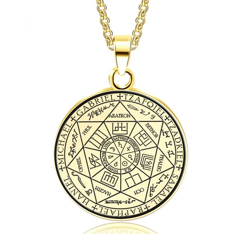 Abaicer-Золотистое Ожерелье из семи архангелов и ожерелье из нержавеющей стали для женщин Аксессуары для платья