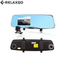 Best Buy Relaxgo 4.5″ Novatek 96655 Car DVR Mirror Rearview Camera Full HD 1080P Night Vision Car Camera Recorder Dual Camera Black Box
