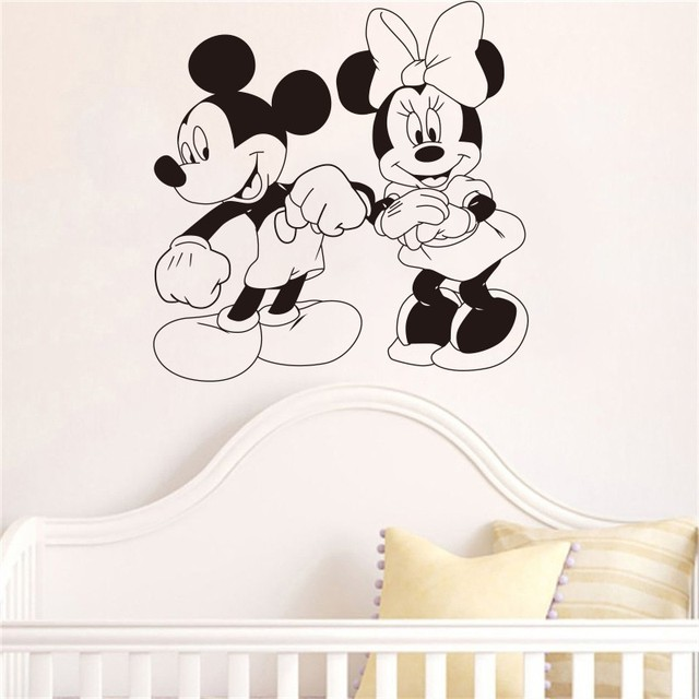 Mickey Mouse And Minnie Mouse Cartoon Characters Dancing Wall Sticker  Cartoons Home Decoration Childrenu0027s Nursery Part 88