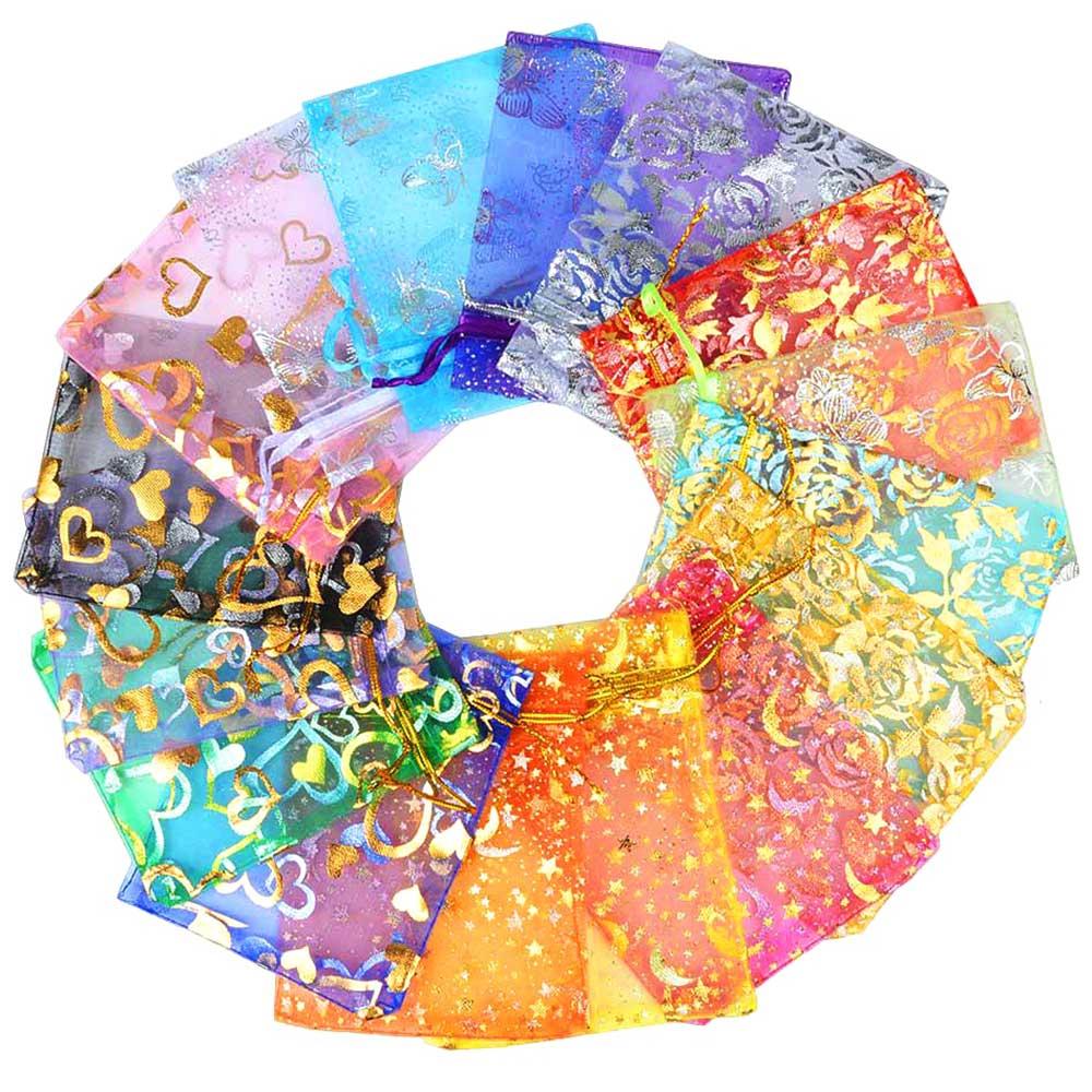 "Chanfar 50 יחידות 9x12 ס""מ תכשיטי שקיות אורגנזה חתונה טובות המפלגה תצוגת אריזת דפוס מודפס Drawable & מתנה שקיות"