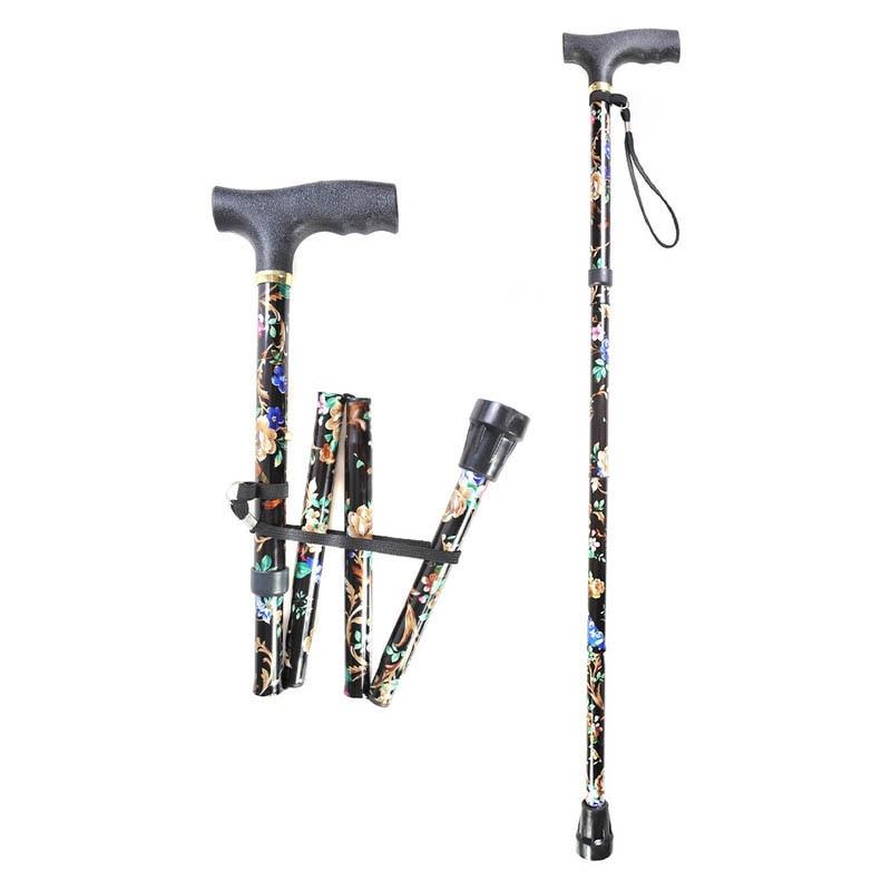 Lightweight Foldable Walking Sticks For Elderly Old Man Telescopic 92cm Adjustable Folding Floral Metal Cane Trekking Hiking