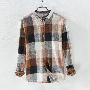 Image 3 - MOGELAISI koszule w szkocką kratę marki mężczyźni moda z długim rękawem bawełna lniana koszula wygodne miękkie człowiek wysokiej jakości jesienna odzież 731
