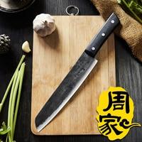 ZHOU Carbon Forged Handmade Chef Cleaver Slicing Meat Fruit Vegetable Knife Eviscerate Bone Butcher Knife Kitchen Cooking Slicer
