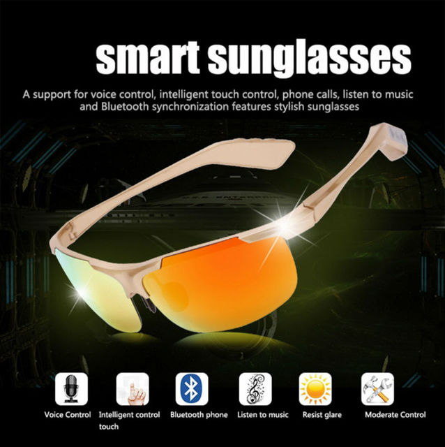 2016 Newest Hot Smart Bluetooth Glasses Polarized Lenses Fashion Outdoor Sports Sunglasses Stereo Earphone Answer The Phone