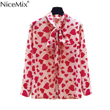 NiceMix Womens Tops Fashion 2019 Summer autumn long sleeve Leisure Chiffon Blouse Casual Female Bow pink tops Heart shape