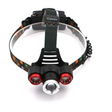 5000Lm 4-Modes Head Lamp 1*T6+2*R2 LED Headlamp Camping Fishing Light Headlight Linterna Lampe+US/EU Charger+Car Charger