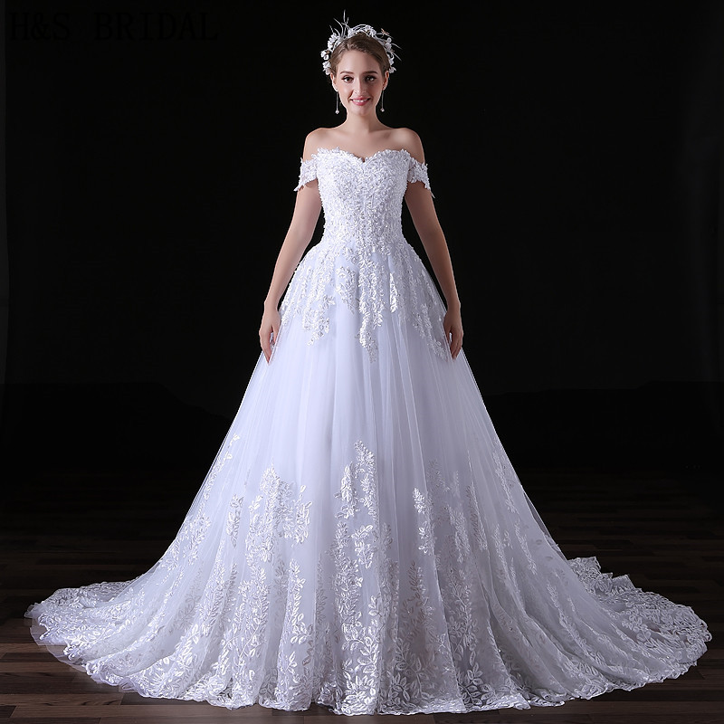 H&S BRIDAL Lace Tulle Ball Gown Wedding Dresses With Veil Off Shoulder Summer Bridal Dress Sequin Robe Mariee 2019 Boho Dentelle