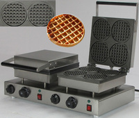 스테인레스 스틸 더블 헤드 라운드 와플 콘 메이커 기계