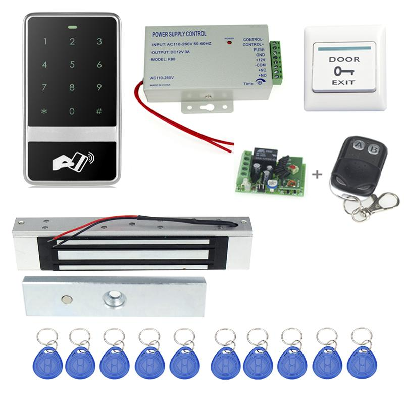 Wholesale RFID Door  Access Control System Electronic Magnetic Lock Power Supply Key Fobs Doorbell Exit Button Remote Control free shipping rfid access control system 8618a electronic bolt lock power supply key fobs door bell exit button remote control