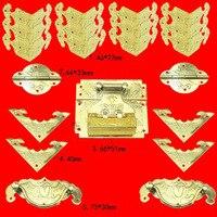 Chinese Brass Lock Set Fit for 30 50cm Wooden Box,Vase Buckle Metal Wooden Box Hasp Latch Lock+Hinge+Handle+Corner