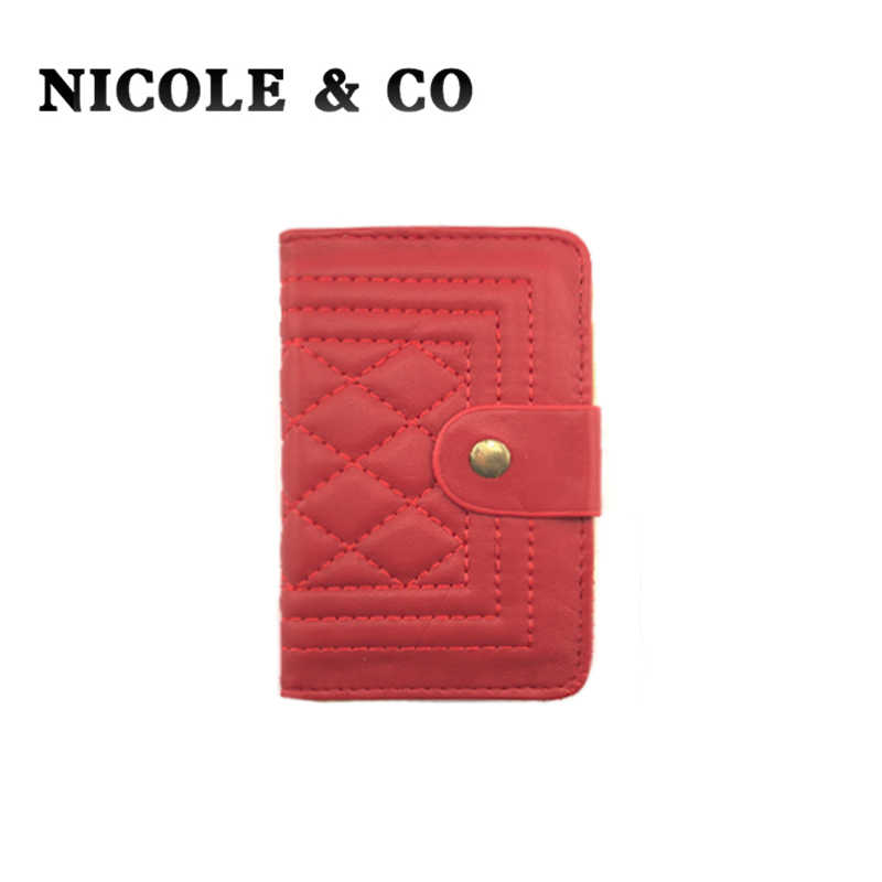 NICOLE & CO Fashion PU Leather Function28 Bits Card Case Business Card Holder Men Women Credit Card Bag ID