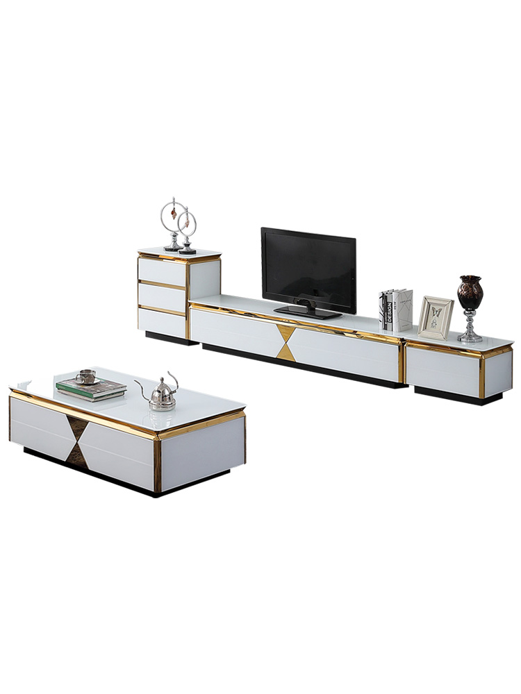 tea table black/white Living Room TV monitor stand mueble stalinite gold stainless steel cabinet +tv table+Coffee centro Table