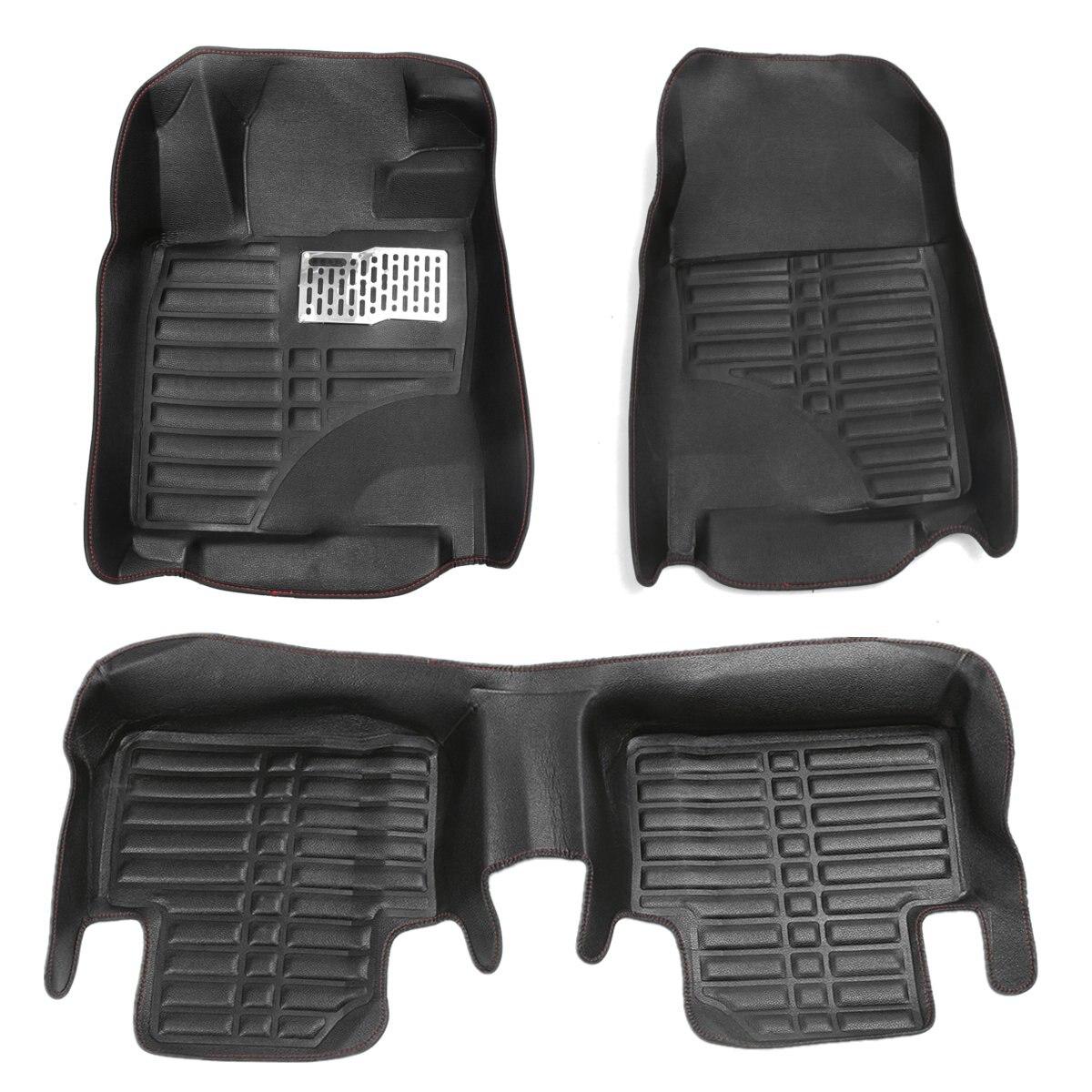 Black Car Floor Front & Rear Leather Mat Liner Waterproof Mat For Honda /Civic 2016 car pad for honda civic 1 8l 2 0l pad mat cup pad 16 modified leather latex