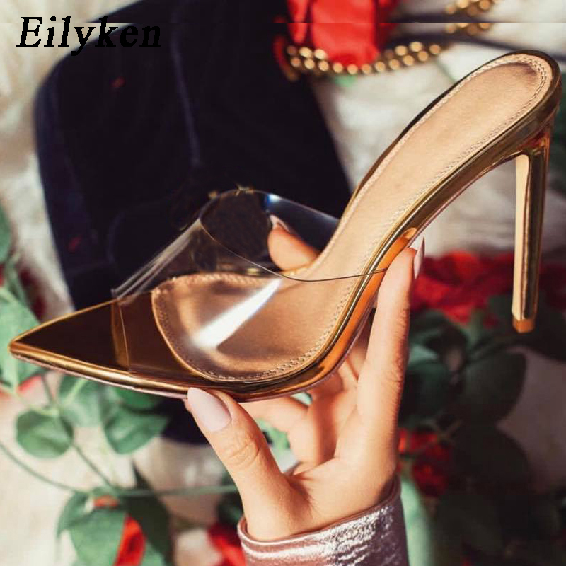 Eilyken Fashion PVC Transparent Summer <font><b>Shoes</b></font> <font><b>Sexy</b></font> <font><b>Heel</b></font> 11.5cm <font><b>Women</b></font> <font><b>Slippers</b></font> Outdoor Party <font><b>Women</b></font> Mules <font><b>High</b></font> <font><b>Heel</b></font> slides image