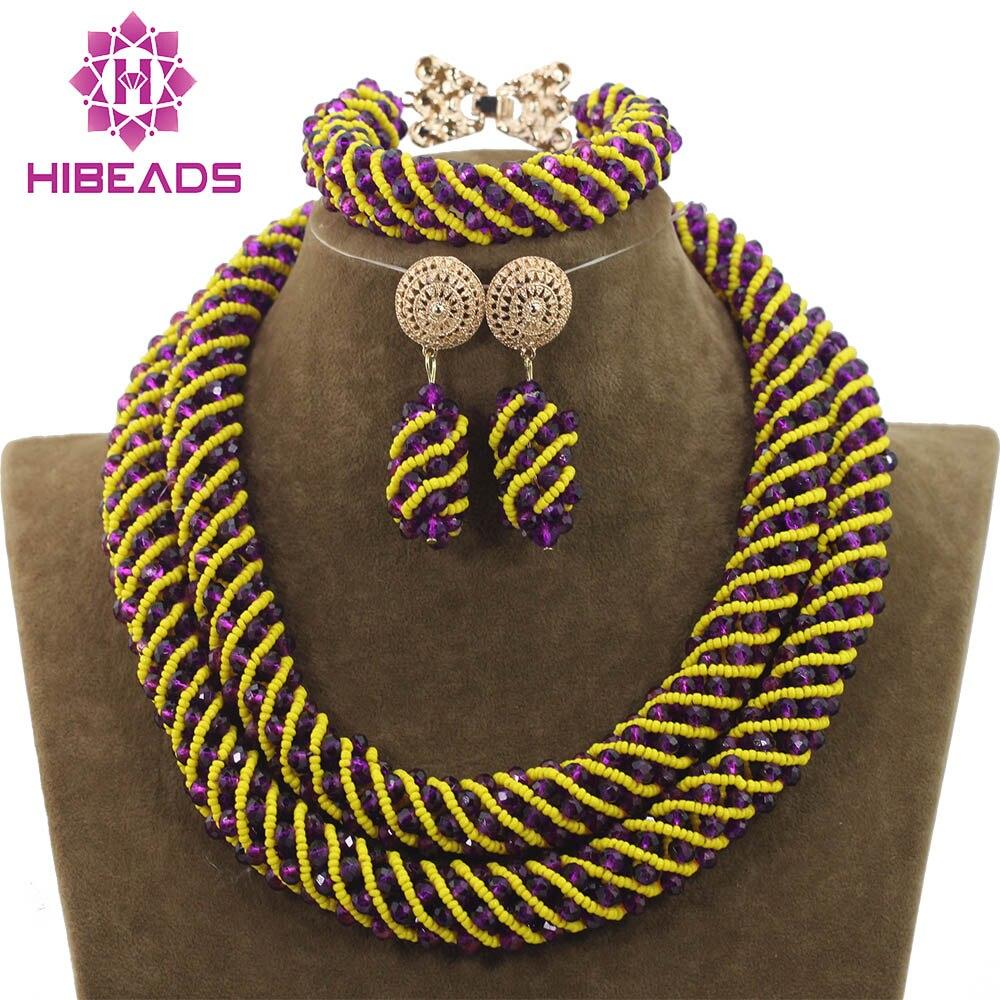 Nouveau mélange violet jaune perles de mariée ensembles de bijoux africains cristal corde chaîne collier boucles d'oreilles ensemble à la main livraison gratuite WD883
