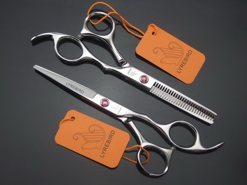 Hot sell Lyrebird hair scissors 6 INCH barber Cutting and thinning Scissors ciseaux coiffure pink  Gem Screw 5pairs/lot NEW