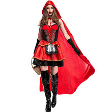 high quality Sexy Little Red Riding Hood Costume Party adult Small RedCap cosplay Dress 2016 New clothing Halloween for Women