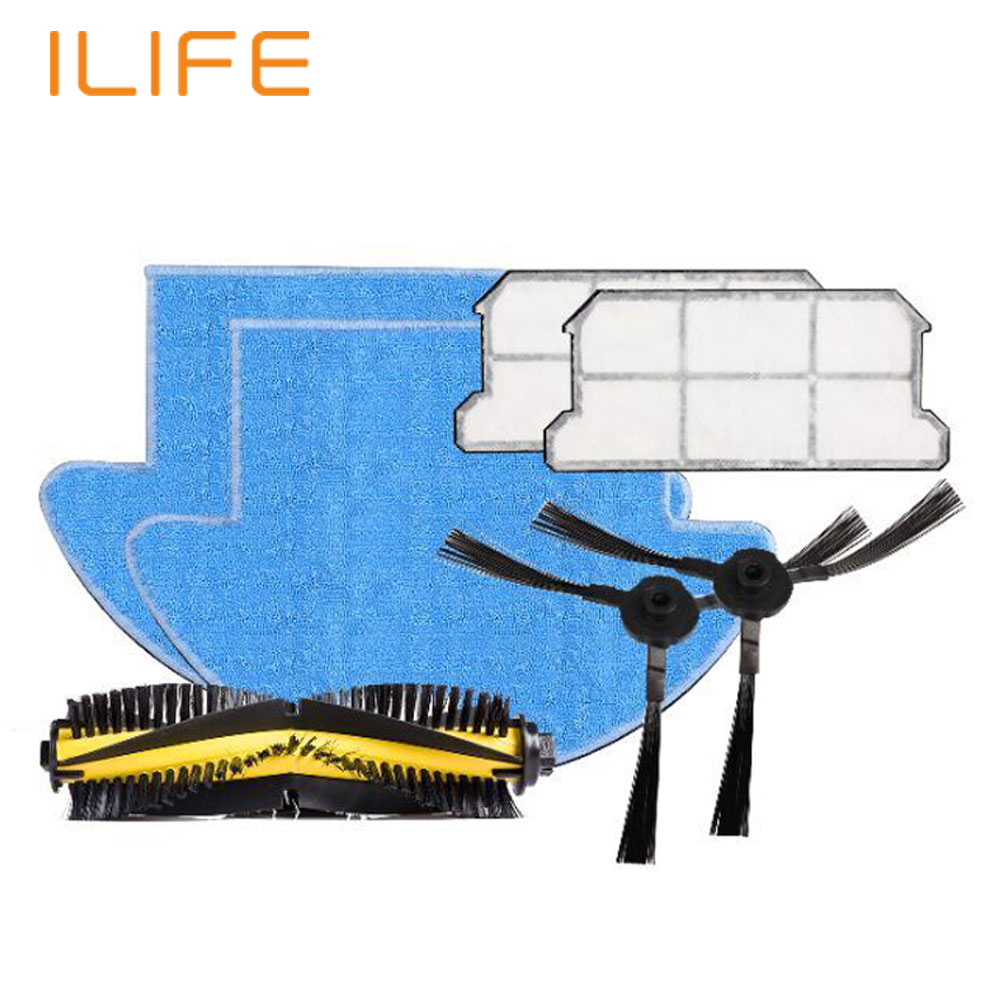 ILIFE V7S Robot Vacuum Cleaner Parts Spare Replacement Kits Cleaning Robot Vacuum HEPA Filter Side Brushes Main Bristle Brush