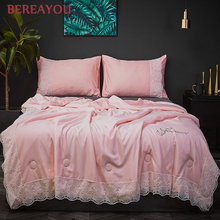 Luxury Tencel Lace Summer Quilts Pink Gray Bed Cover Queen King Size Blanket and Pillowcase For Boys Double Comforter colchas