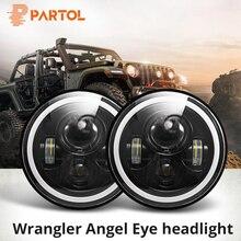 Partol 2Pcs 7 LED Headlights 60W High Low Beam LED H4 Halo Angel Eye DRL Amber