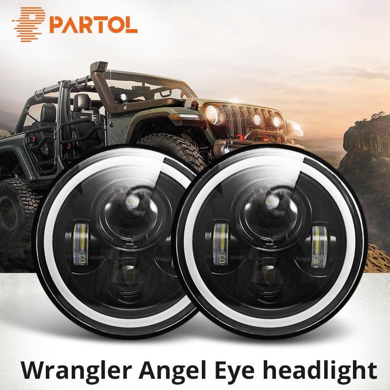 Partol 7 LED Headlights 60W High Low Beam LED H4 Halo Angel Eye DRL Amber Turn Signal for Jeep Wrangler JK TJ Land Rover Harley