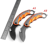 KKWOLF Hunting Karambit Knife CS GO Outdoor Folding Knife Fight Survival Tactical Knife Claw Camping Neck