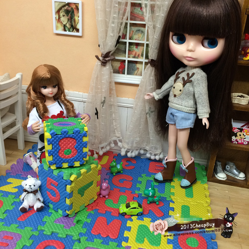 Free shipping DollHouse doll Furniture accessories 12pcs/set Miniature carpet for barbie,BJD, licca momoko toys girl play house