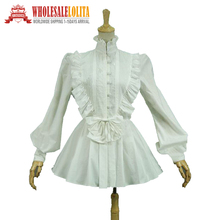 Victorian Edwardian Gothic White  Cotton Blouse Top Shirt Cape Steampunk Penny Dreadful Clothing Theatrical Costume