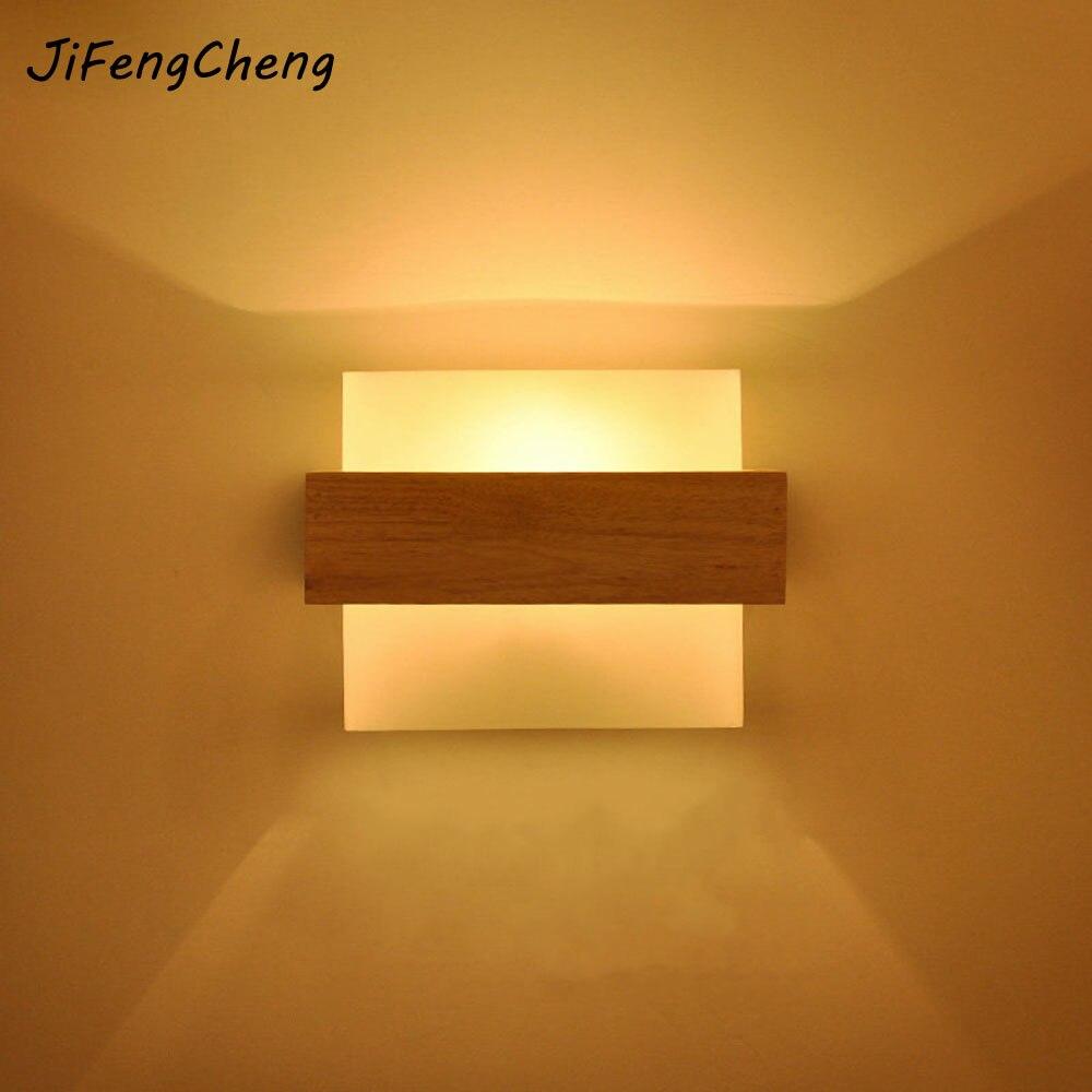 LED твердой древесины настенный светильник e27 Спальня ночники Гостиная балкон проход Творческая Простой современный настенный светильник ...