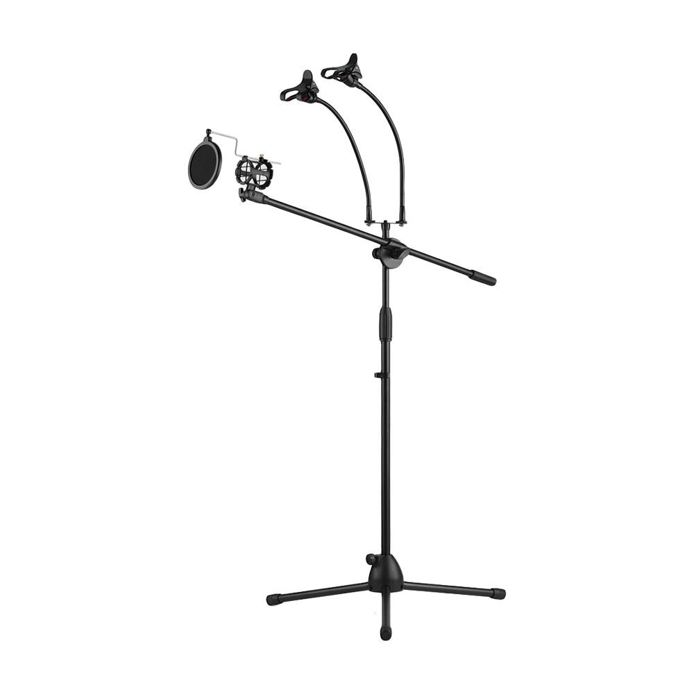 Mikrofonstativ Schaukel Boom Boden Ständer Mikrofon Halter Drei Zelle Halter Mic Stand Ajustable Bühne Stativ Metall Selfie Ring Licht 360 Grad
