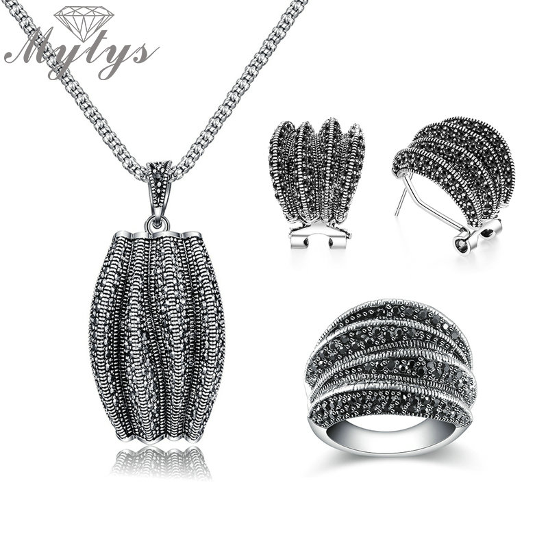 Mytys Two Styles Black Marcasite Stone Vintage Jewelry