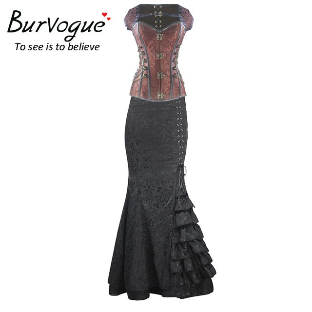 Burvogue corsé steampunk vestido de cintura alta faldas largas cintura corsés y falda sirena vestido de control conjunto steampunk corsé de las mujeres