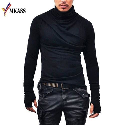 2018 New Brand Stylish Designed Turtle Neck Mens Long Sleeve Gloves T shirt Slim Fit Street Tees Spring Knitting Biker Shirts ...