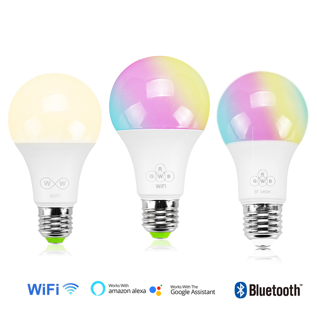 E27 LED Bulb Lamp RGBW CCT Bluetooth WiFi wireless control for smart phone iOS Android 4.5W 6.5W Bulb Lamp 85-265V