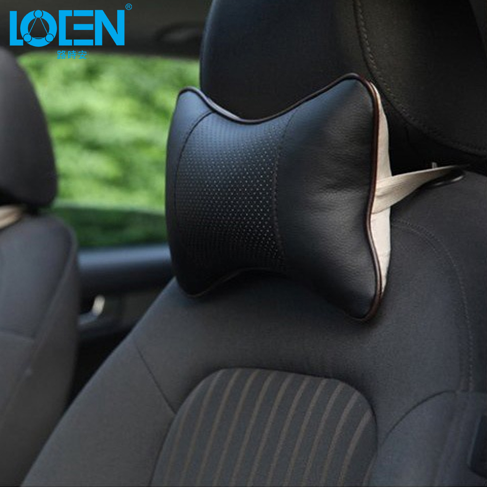 LOEN 1PC Mini PU Leather Universal Car Headrest Support Neck Pillow Black/Beige/Gray/Brown for Auto Car Seat for 4 Seasons