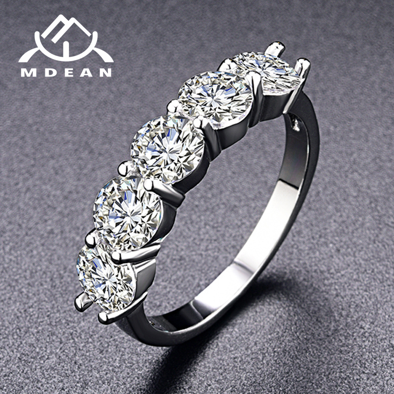 MDEAN White Gold Color Engagement Rings for Women Wedding Clear AAA Zircon Jewelry Femme Bijoux Bague Size 5 6 7 8 9 10 11 H006