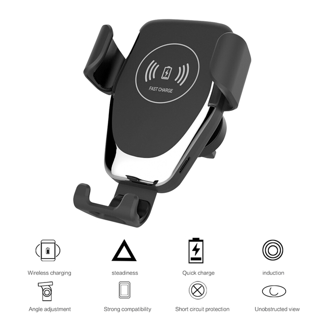 Car Mount Qi Wireless Charger For iPhone XS Max X XR 8 Wireless Charging Car Phone Holder Stand For Samsung Note 9 8 S9 S8